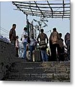 Cartoon - Locals And Tourists Standing At The Top Of The Steps Near The Dal Lake Metal Print