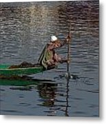Cartoon - Man Plying A Wooden Boat On The Dal Lake Metal Print