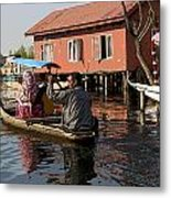 Cartoon - Man Rowing A Family In A Wooden Boat Metal Print