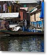 Cartoon - Man Rowing Small Boat Laden With Vegetables In The Dal Lake In Srinagar Metal Print