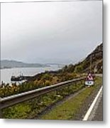Cartoon - Road Along The Loch Alsh In The Scottish Highlands Metal Print