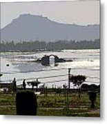 Cartoon - Shalimar Garden - The Dal Lake And Mountains In The Background In Srinagar Metal Print