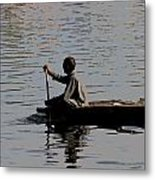 Cartoon - Splashing In The Water Caused Due To Kashmiri Man Rowing A Small Boat Metal Print