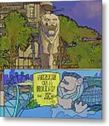 Cartoon - Statue Of The Merlion With A Banner Below The Statue Metal Print