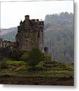 Cartoon - Structure Of The Eilean Donan Castle In Front With Dry Part Of Lake Metal Print