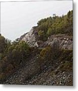 Cartoon - Wire Mesh Holding Up A Crumbling Hillside In The Scottish Highlands Metal Print