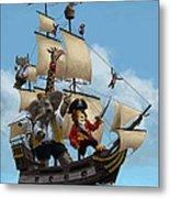 Cartoon Animal Pirate Ship Metal Print