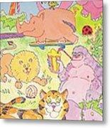 Cartoon Animals Metal Print