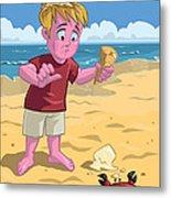 Cartoon Boy With Crab On Beach Metal Print