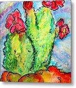 Cartoon Cactus Metal Print