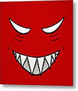 Cartoon Grinning Face With Evil Eyes Metal Print