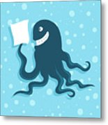 Cartoon Smiling Octopus With Paper In Metal Print