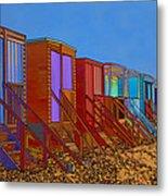 Cartoonised Beach Huts Metal Print