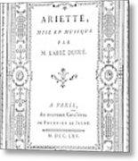 Cartouche, 1765 Metal Print