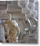Carved Elephant Sculpture On Columns Metal Print