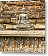Carved Figures At Wat Mahathat In 13th Century Sukhothai Histori Metal Print