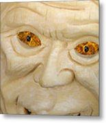 Carved Pumpkin Face Metal Print
