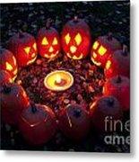 Carved Pumpkins With Pumpkin Pie Metal Print