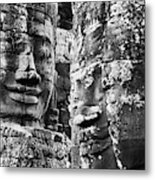 Carved Stone Faces In The Khmer Temple Metal Print