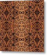Carved Wooden Cabinet Symmetry Metal Print
