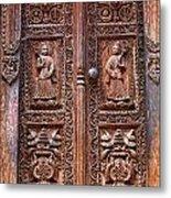 Carved Wooden Door At Bhaktapur In Nepal Metal Print