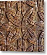 Carved Wooden Door In The Tsminda Sameba Cathedral Tbilisi Metal Print