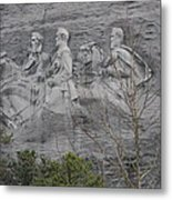 Carving Of Confederate Generals On Stone Mountain Metal Print