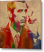 Cary Grant Watercolor Portrait On Worn Parchment Metal Print