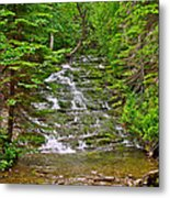 Cascade Over Mossy Rocks Along La Chute Trail In Forillon Np-qc Metal Print