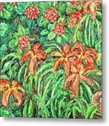 Cascading Day Lilies Metal Print