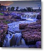 Cascading Waterfalls At Sunset Metal Print