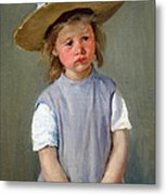 Cassatt's Child In A Straw Hat Metal Print