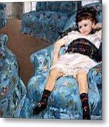 Cassatt's Little Girl In A Blue Armchair Metal Print
