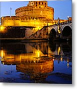 Castel Sant'angelo And The Tiber River Metal Print