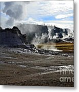 Castle Geyser In Yellowstone National Park Metal Print