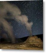 Castle Geyser With Milky Way In Lower Metal Print
