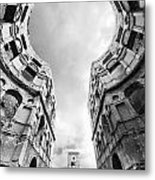 Castle Keyhole In Black And White Metal Print