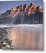 Castle Mountain And The Bow River Metal Print