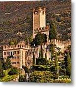 Sunset On The Castle On Lake Garda Italy Metal Print