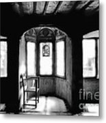 Castle Room With Chair Bw Metal Print