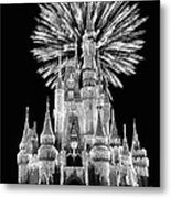 Castle With Fireworks In Black And White Walt Disney World Metal Print