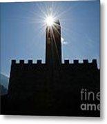 Castle With Sun Metal Print