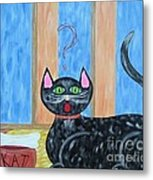 Cat And Bone Metal Print