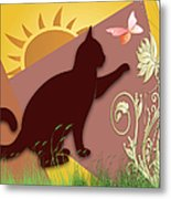 Cat And Butterfly Metal Print