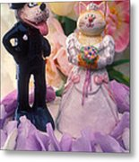 Cat And Dog Bride And Groom Metal Print by Garry Gay