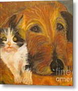 Cat And Dog Original Oil Painting  Metal Print