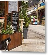 Cat And Restaurant Concarneau Brittany France Metal Print