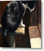 Cat At A Window With A View Metal Print