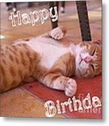 Cat Birthday Card Metal Print