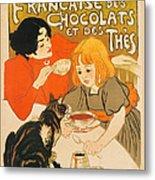 Cat Enjoys Chocolates And Tea Metal Print